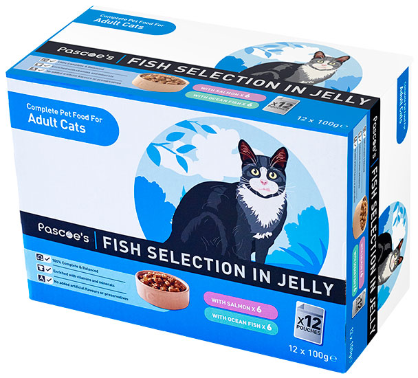 Adult cat 12 pack fish selection in jelly